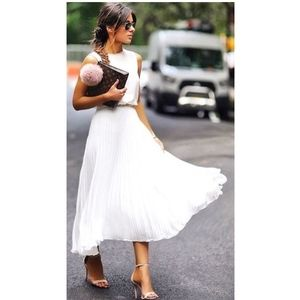 White Pleated Maxi Skirt by WHBM